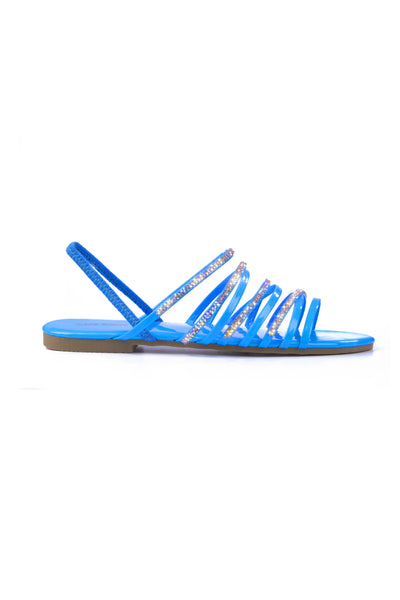 STARRY RHINESTONE SANDALS-BLUE