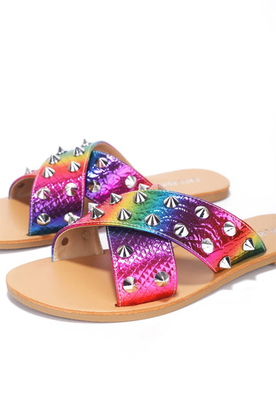 ALEXANDER JUST TOO HOT STUDDED SLIDES-RAINBOW