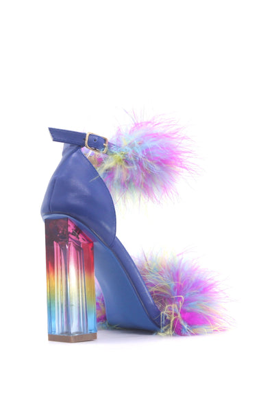 ANTISOCIAL LOVE IS A WILD THING FEATHER SANDAL-BLUE