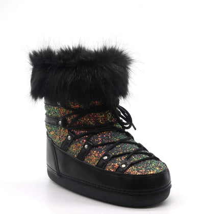 POLAR LACE UP FAUX FUR MOON BOOTS- Black