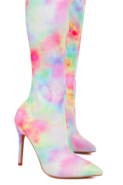 PREMIERE YOUR FRIENDS ARE TAKING YOU OUT THIGH HIGH SEXY DYE TIE HEEL BOOT-MULTI