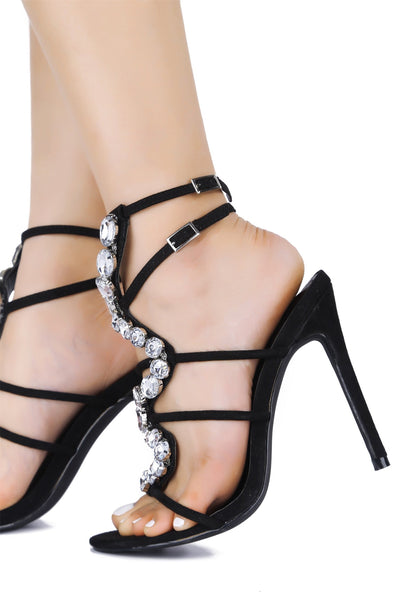 SNAKE ROAD JEWEL EMBELLISHED HEEL-BLACK