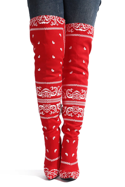 SPRING BANDANNA PRINT THIGH HIGH BOOTS-RED