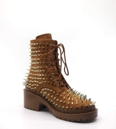 TRIS GONNA BREAK YOUR HEART STUDDED BOOTIE- Tan