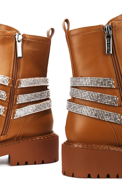 VANIA OVER MY HEAD RHINESTONE BOOTIES-TAN