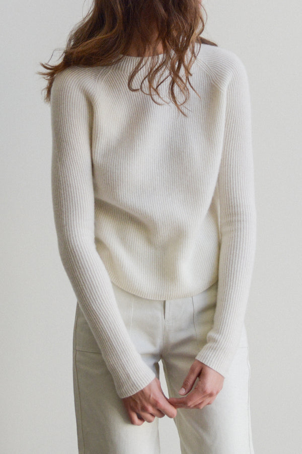 High Neck Full Cardigan Stitch Sweater in Ivory