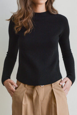 High Neck Full Cardigan Stitch Sweater in Black