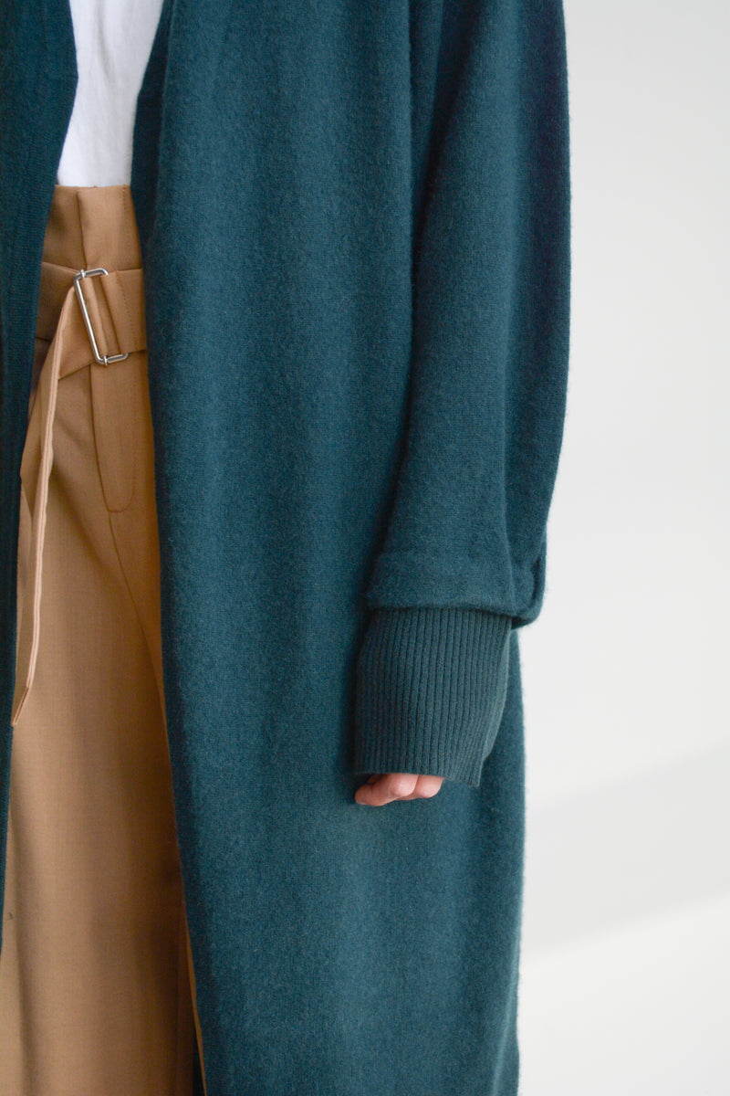 understate minimal cashmere cardigan duster green sleeve