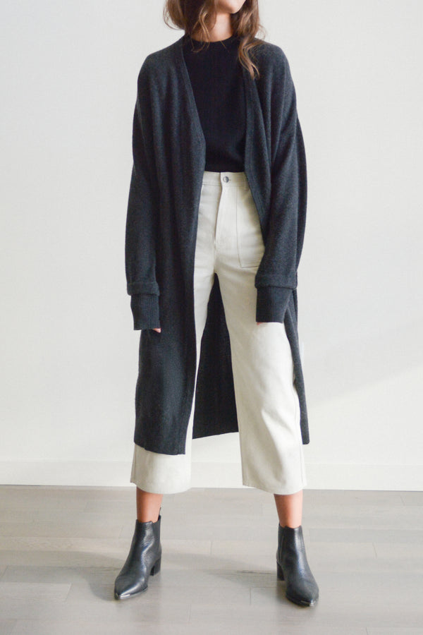 understate minimal cashmere cardigan duster gray