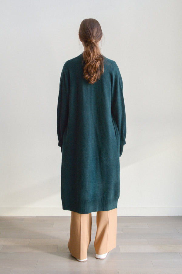 understate minimal cashmere cardigan duster green back view