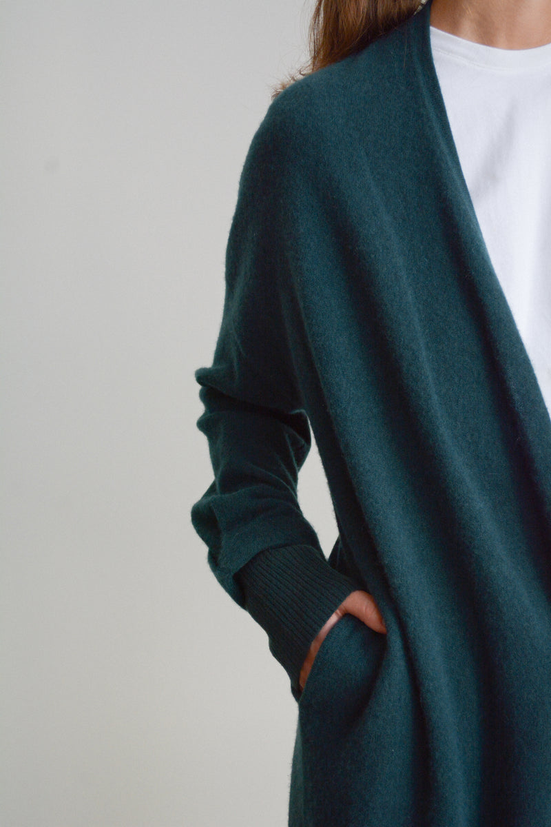 Boiled Cashmere Open Cardigan in Forest