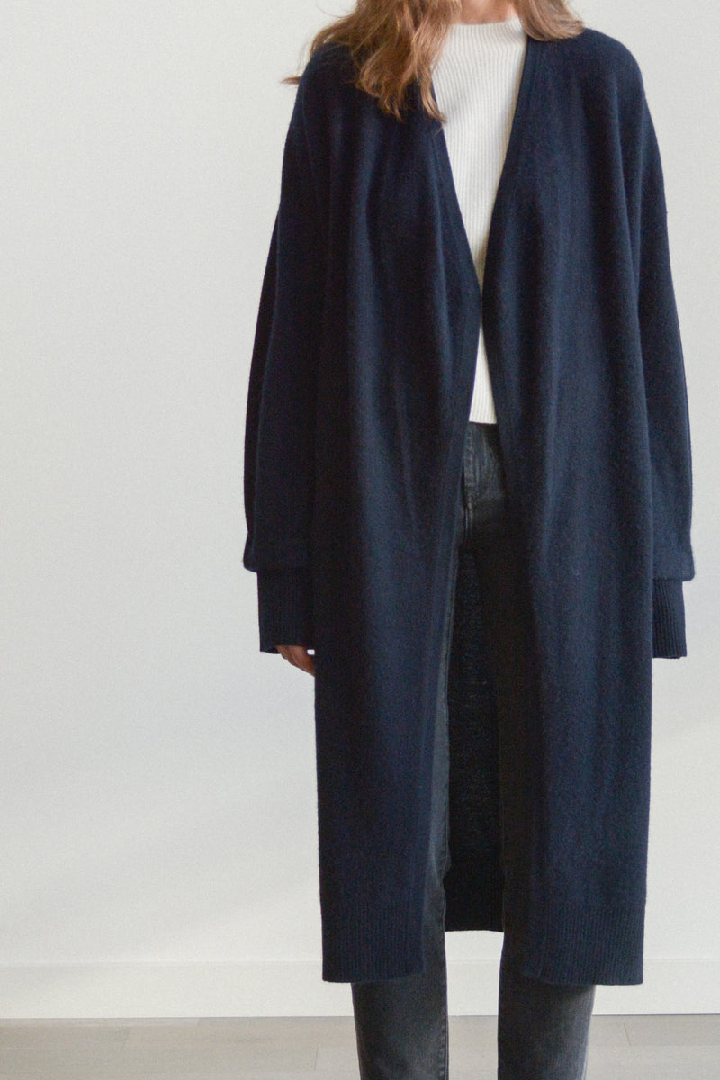Boiled Cashmere Open Cardigan in Navy