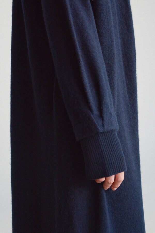 understate minimal cashmere cardigan duster navy sleeve