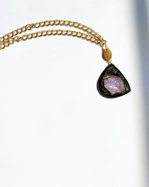 Watermelon Tourmaline Necklace: Lavender and Green