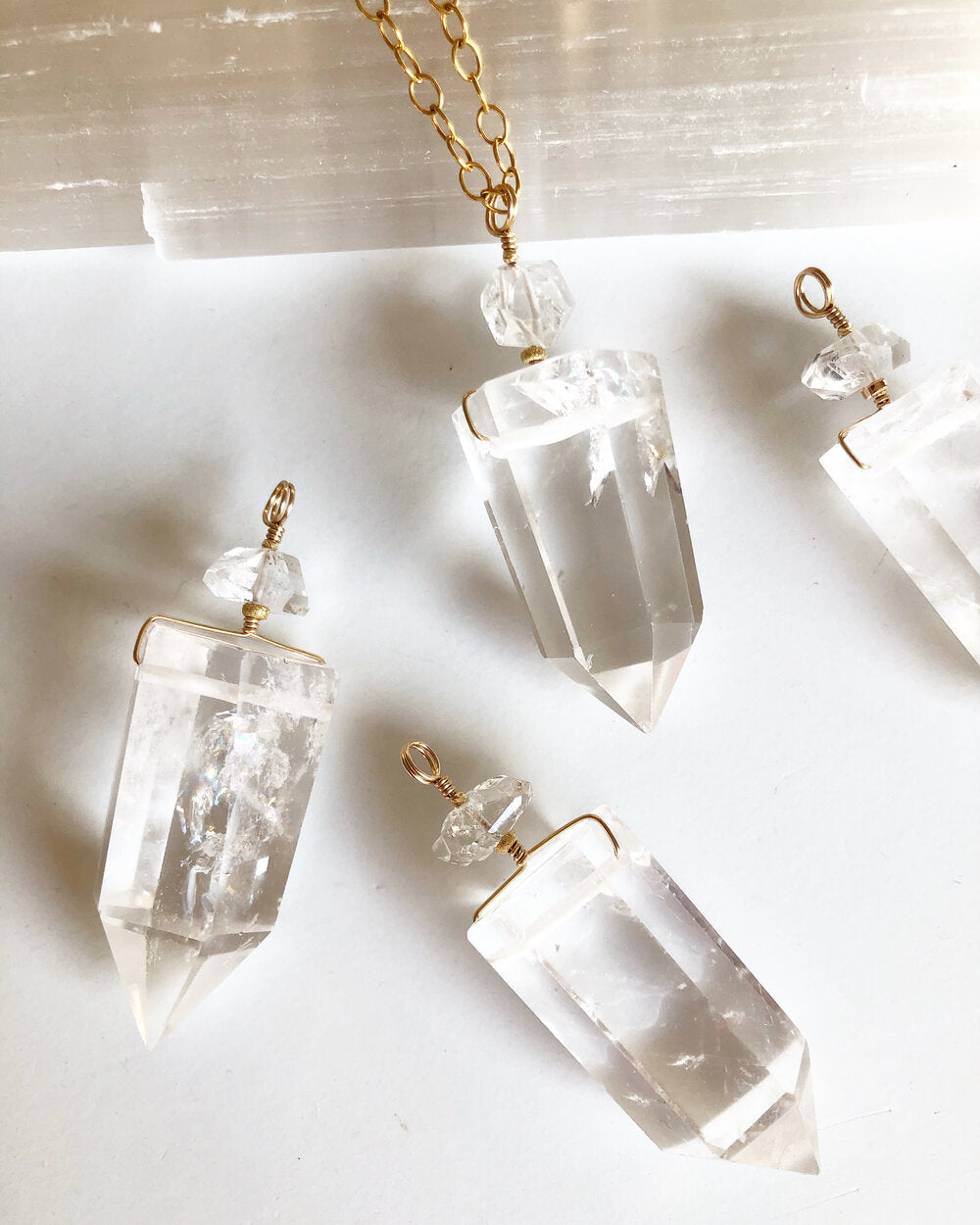 Temple Necklace: Clear Quartz