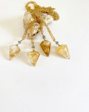 Citrine and Aquamarine LIMITED EDITION Pendulum