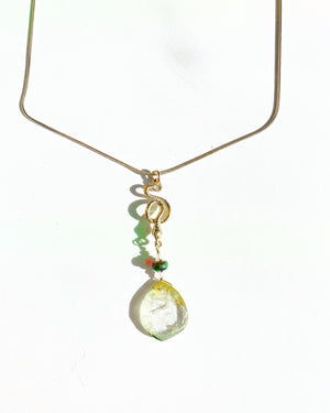Watermelon Tourmaline Serpent Necklace: Pale Green
