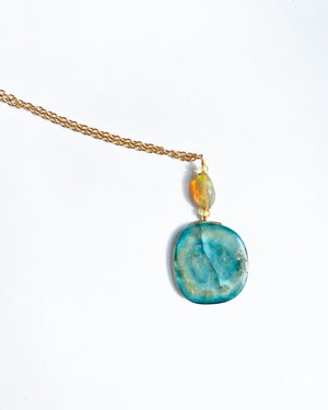 Blue Tourmaline and Opal Necklace