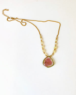 Watermelon Tourmaline and Opal Necklace