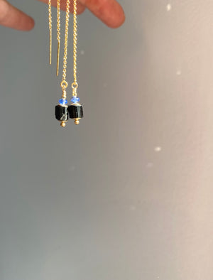 Black Tourmaline and Kyanite Threader Earrings