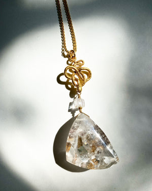 Manifestor Quartz Necklace with Snake and Kunzite