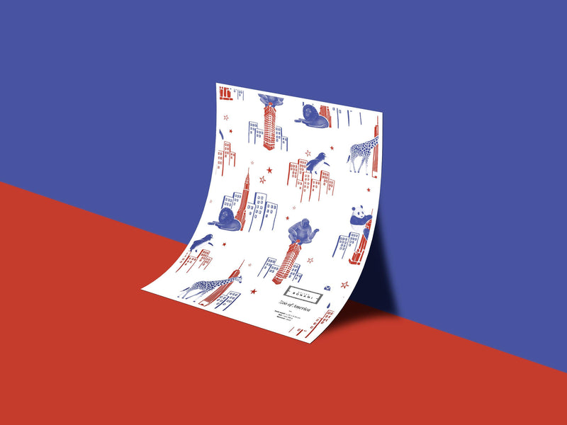 Zoo of New York - Red & Blue - petit motif - Maison BONAMI