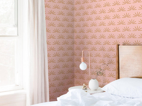 Jeanne - Rose blush et Ocre doré - grand motif