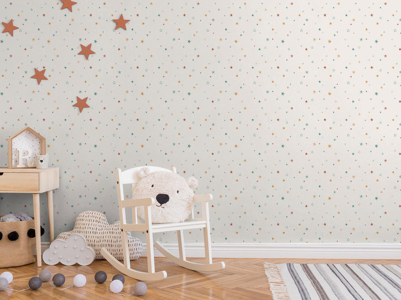 Little Stars - Beige cendré & Terracotta - grand motif