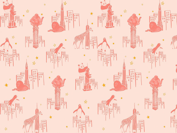 Zoo of New York - Beige rosé & Rose velours - grand motif