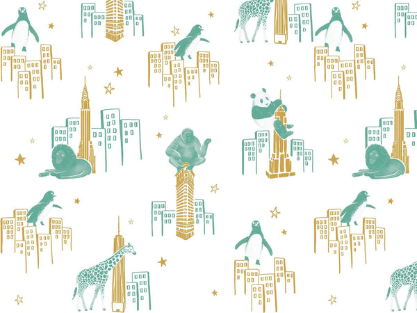 Zoo of New York - Green & Gold - grand motif