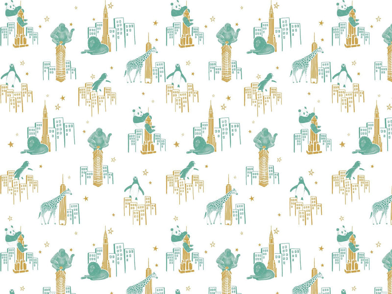 Zoo of New York - Green & Gold - petit motif