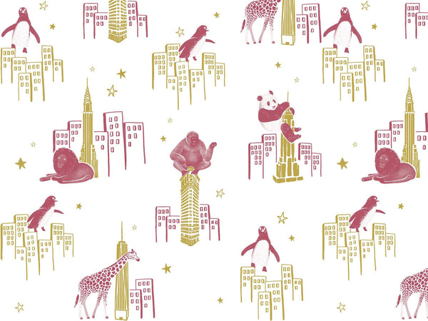 Zoo of New York - Pink & Gold - grand motif