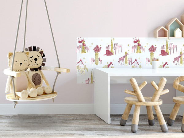 Zoo of New York - Pink & Gold - petit motif