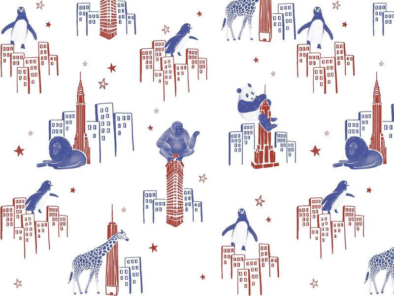 Zoo of New York - Red & Blue - grand motif