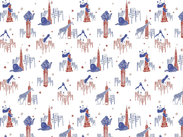 Zoo of New York - Red & Blue - petit motif