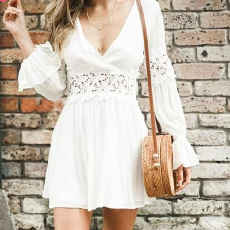 Elegant White Solid Crochet Dress Long Sleeve Short Dress Lovely