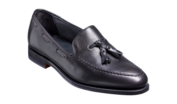 Newborough - Black Grain Hand Stitched Loafer
