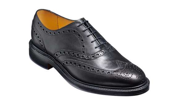 Charles - Black Fine Grain - Brogue Shoe