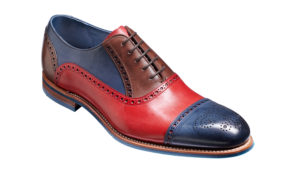 Jax - Red / Navy / Ebony Hand Painted Oxford