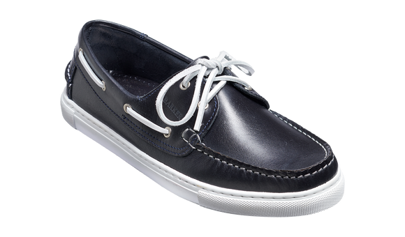 Henri - Navy Pull-Up Calf Deck or Boat shoe Mens