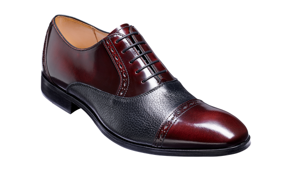 Ramsgate - Burgundy Hi-Shine / Black Deerskin Toe Cap Oxford