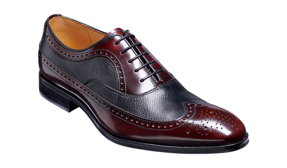 Rugby - Burgundy Hi-Shine / Black Deerskin Brogued Oxford