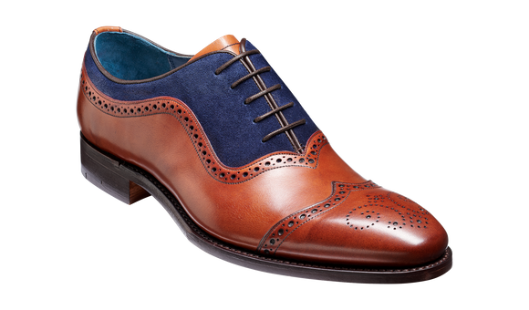 Nicholas - Antique Rosewood / Navy Suede Brogue Shoe