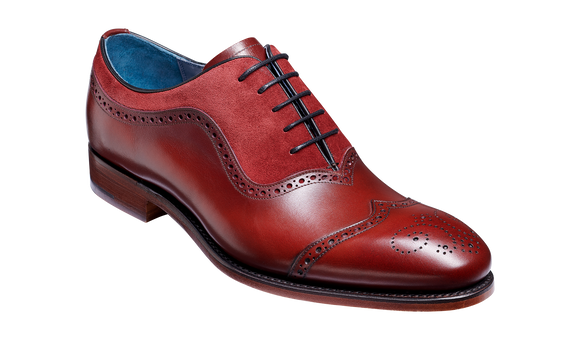 Nicholas - Cherry Calf / Burgundy Suede Brogue Oxford