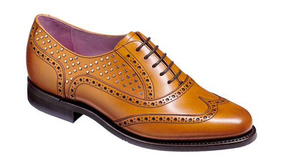 Freya - Cedar Calf / Studs - Brogue Shoe Womens