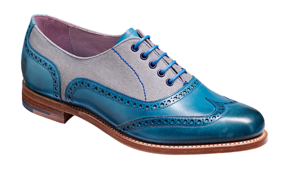 Ali - Blue Hand Painted / Grey Canvas Womens Wingtip Shoe