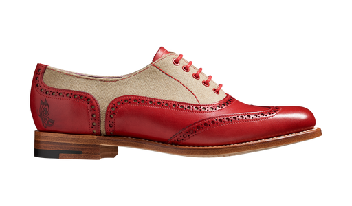 Ali - Red Hand Painted / Grey Canvas Women Wingtip Shoe