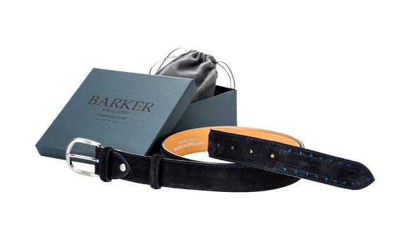 Brogue Belt - Navy / Blue Cut Through Suede