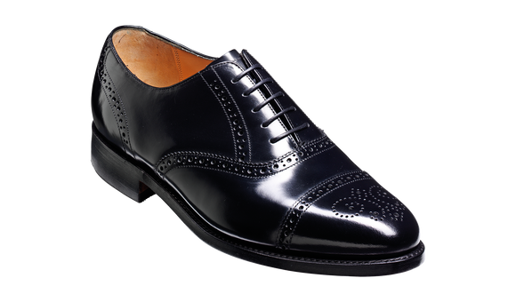 Alfred - Black Hi-Shine Brogue Cap Toe