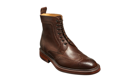 Calder - Dark Brown Grain Mens Wingtip Boot